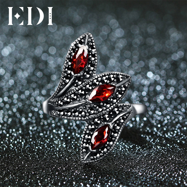 EDI Natural Style Vintage Garnet With 925 Sterling Silver Cocktail Indian Ring F