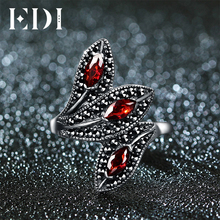 EDI Natural Style Vintage Garnet With 925 Sterling Silver Cocktail Indian Ring For Women Unique Leaf Shape Design Fine Jewelry