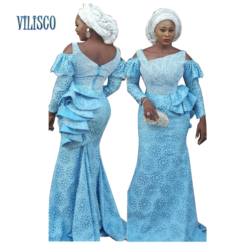 New Bazin Riche African Lace Embroidered Dresses For Women 2019 Plus Size Dashiki Women Vestidos African Clothing XG01