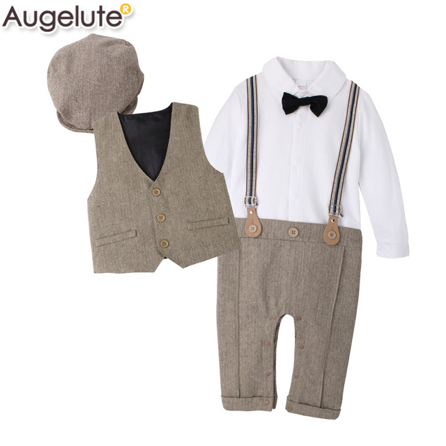 Baby ClothingNew Baby Boy Bodysuit Set Spaghetti Strap Baby Romper Hat Vest Comfortable BOW-TIE Gentleman Newborn Birthday Dress