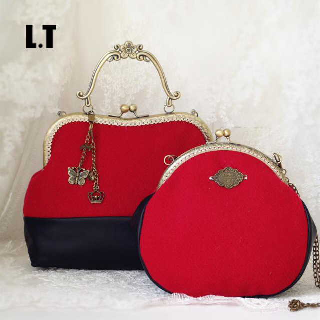 2017 Women Handmade Patchwork Wool PU Leather Shoulder Bag Vintage Retro Cute China Red Small Cell Phone Funky  Crossbody Bag