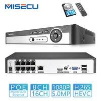 MISECU H.265 8CH 48 V POE NVR до 16CH 5MP/1080 P аудио выход наблюдения безопасный видеорегистратор для POE камеры обнаружения движения