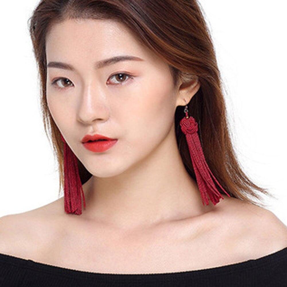 2018 New Style Braided BOHO Rope Knot Long Tassel Earrings Vintage Handmade Ethnic Chinese Fringes Earrings For Women