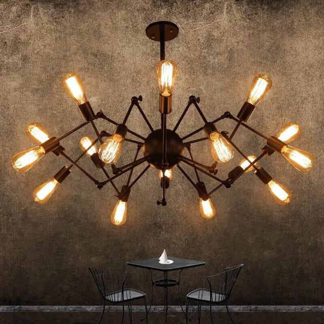 Vintage LED araña lámparas comedor país Industrial lámpara colgante ...