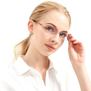 Image 5 - ファッション女性ラインストーンリムレス老眼鏡高クリア女紫リーダー老眼メガネ