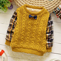 Детский свитер мальчика хлопок бархат плюс толстый свитер плед рукавом круглым воротом плюс бархат дна sweatershirt