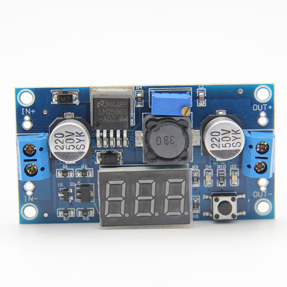 <font><b>LM2596</b></font> LM2596S Power module + LED Voltmeter DC-DC adjustable Step-Down Module w/ Display image