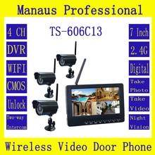 """3 * Aparatów Cyfrowych z 7 """"LCD Monitor DVR Zestaw Wireless Home Security System CCTV Audio Video Nianie TS-606Cb"""
