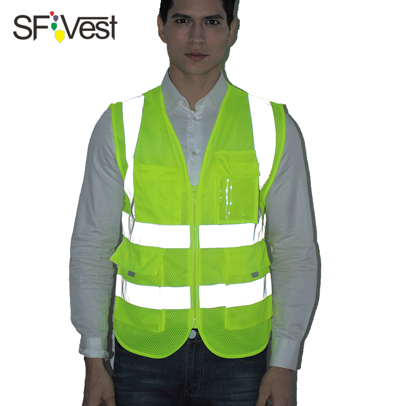 SFVEST HI VIS VIZ POLYESTER TAPES VEST HIGH VISIBILITY WORK WAISTCOAT REFLECTIVE SAFETY TOP ORANGE YELLOW BLUE FREE SHIPPING fluorescence yellow high visibility