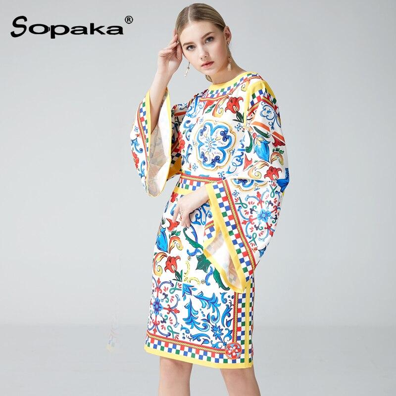 Manches Designer Chauve Mode Piste Multi Midi Imprimé Lady Floral souris 2018 Femmes Grande Bohème De Doux Printemps Robes Robe Géométrique tFz7F