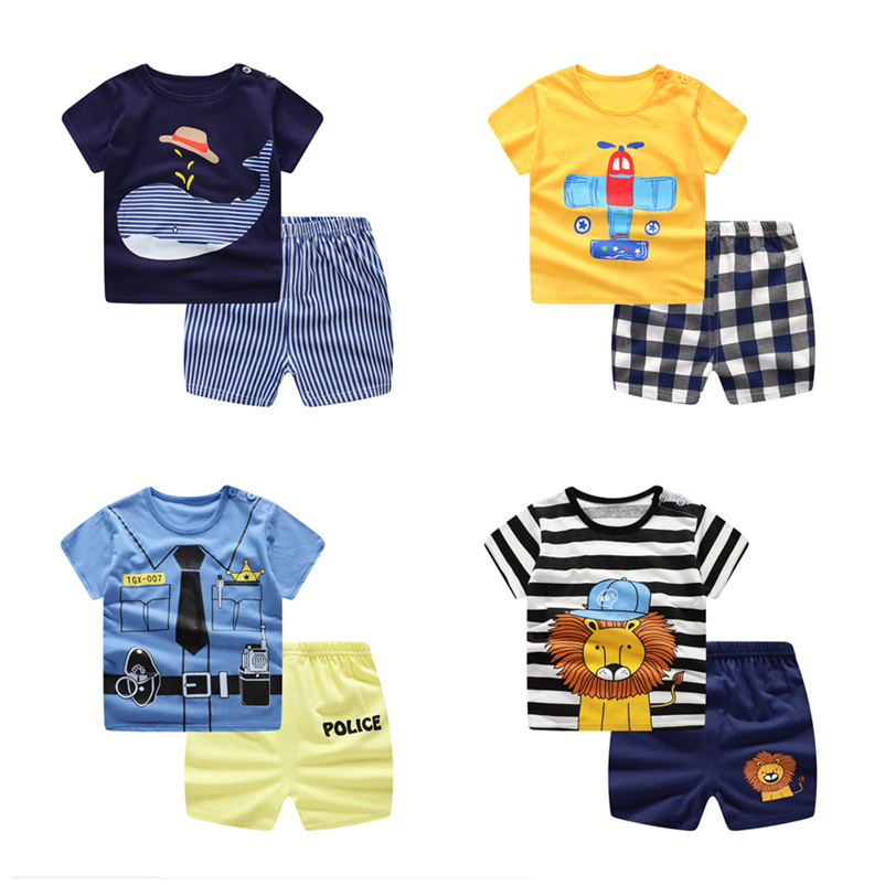 Hot Sale Summer Children's Sets Toddler Kids Clothes Set Baby Boys Girls Tracksuits Cartoon T-shirt+Shorts Newborn Infant Outfit(China)