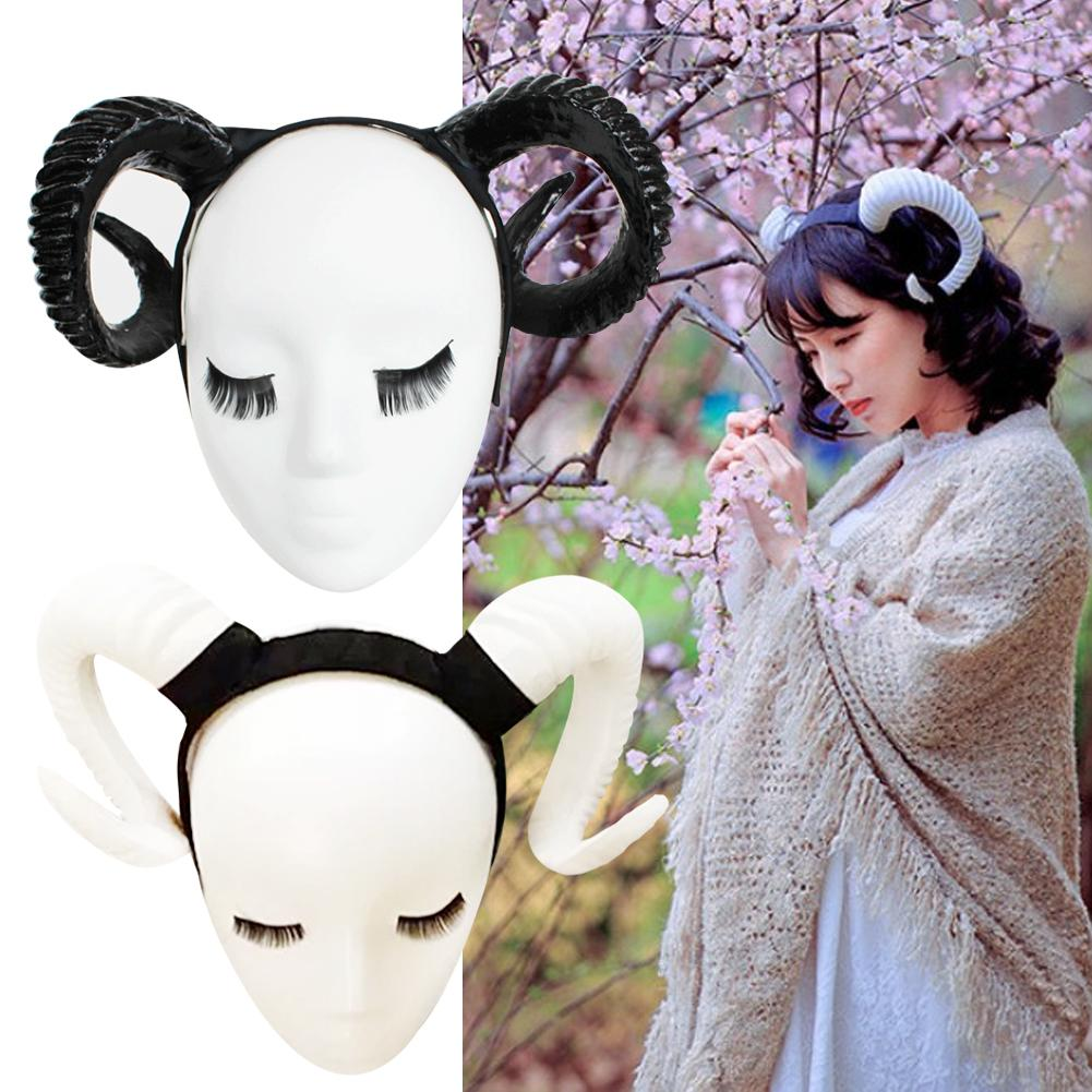 Demon Evil Horn Cosplay Headwear Handmade Sheep Horns Gothic Lolita Black/golden/silver Color Headband Halloween Prop Hairband