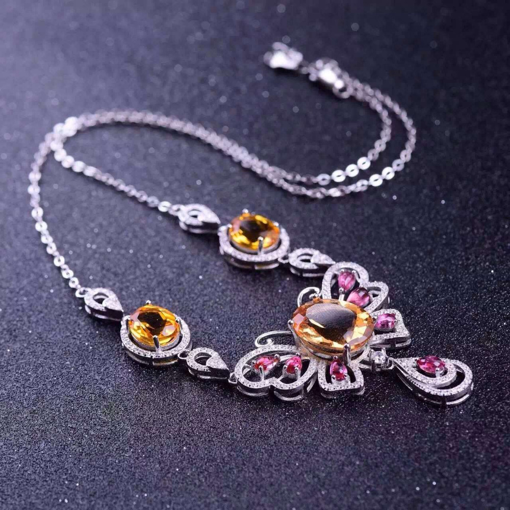Natural red garnet tourmaline Necklace natural citrine Pendant Necklace S925 silver trendy big butterfly women party Jewelry natural red chalcedony jewelry suits s925 silver europe and the big korean jewelry necklace
