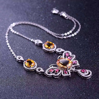 Natural Red Garnet Tourmaline Necklace Natural Citrine Pendant Necklace S925 Silver Trendy Big Butterfly Women Party
