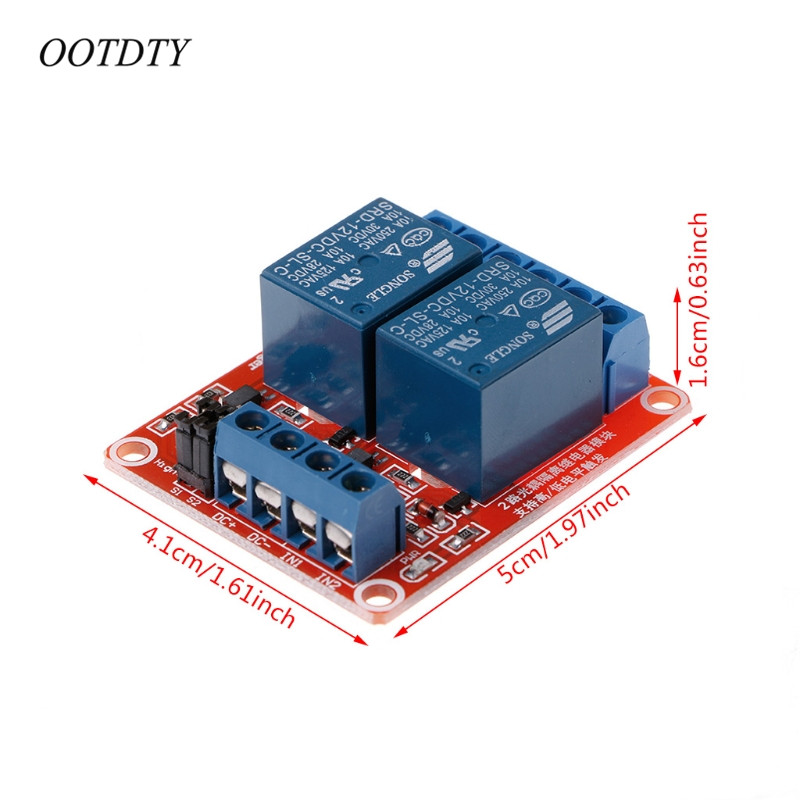OOTDTY 12V 2 Channel Relay Module with Optocoupler Isolation Supports High and Low Trigger in Relays from Home Improvement