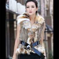 LX00083 Hot Genuine Knitted Rabbit Fur Vest With Fox Fur Collar Womens Slimming Gilet Waistcoat S