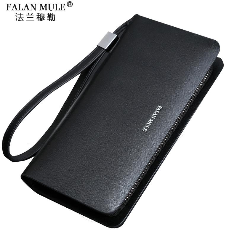 цена FALAN MULE fashion brand men wallets split leather long zipper clutch wallet business male wallet онлайн в 2017 году