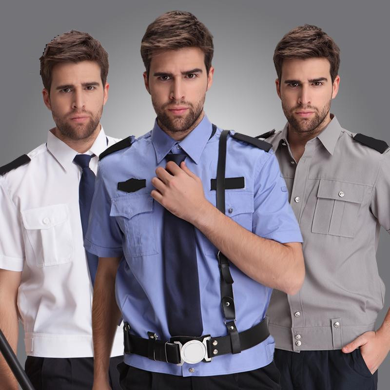 new arrival security clothing men suit shirts blue male short-sleeve security work wear big and tall mens uniforms free shipping image