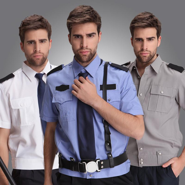 new arrival security clothing men suit shirts blue male short-sleeve  security work wear big 67f7f1e9f5c7