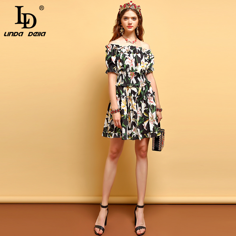 LD LINDA DELLA Summer Fashion Dress Women s Backless Ruffles Pleated Floral Printed Elegant Vintage Vacation