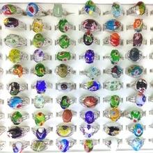 50 pcs مختلط الكثير زهرة تصميم مورانو الزجاج خواتم للنساء بالجملة