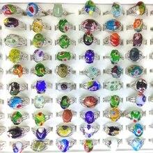 50 個混合ロットフラワーデザインムラーノガラスリング女性のための卸売