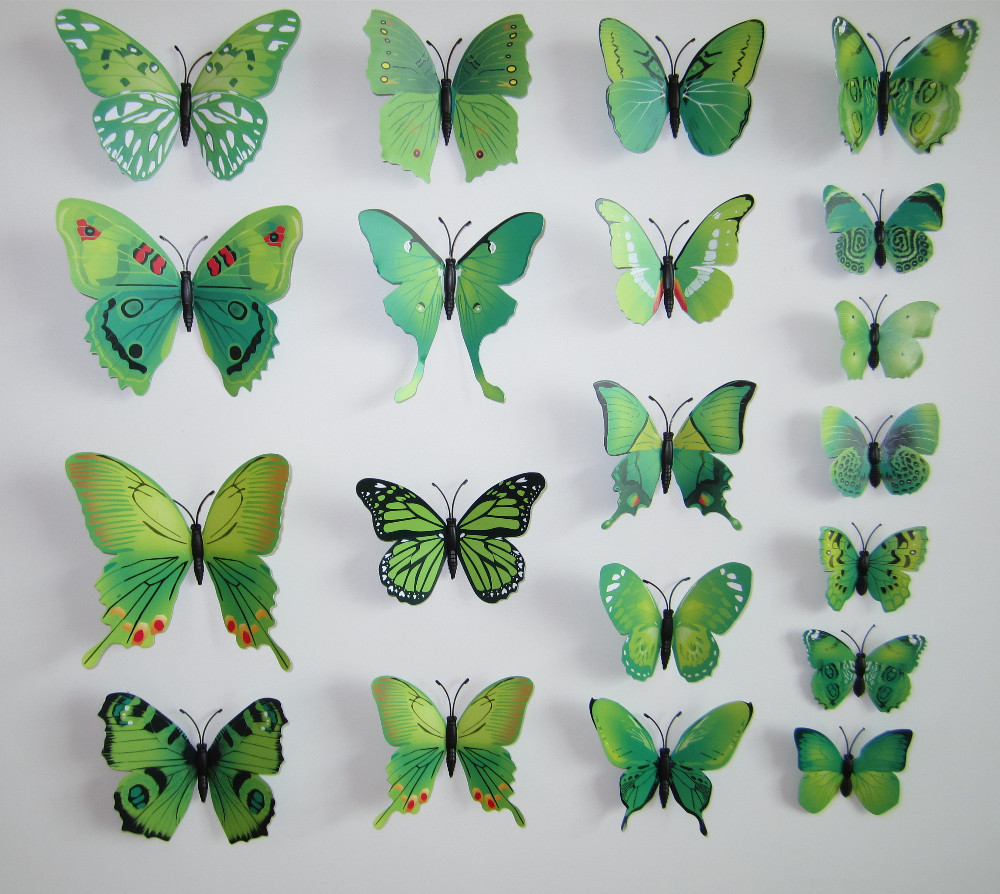 12 pcs 3d diy butterfly wall stickers wall art home for 3d wall butterfly decoration
