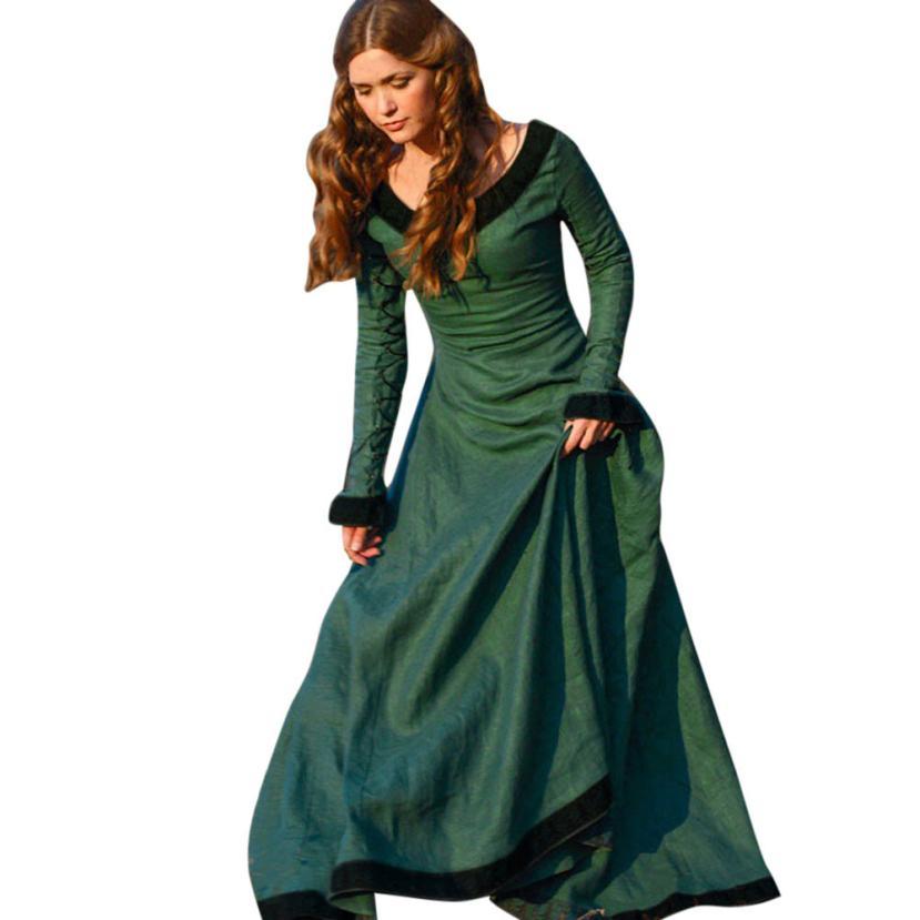 snowshine YLI Women Vintage Medieval Dress Cosplay Costume Princess Renaissance Gothic Dress