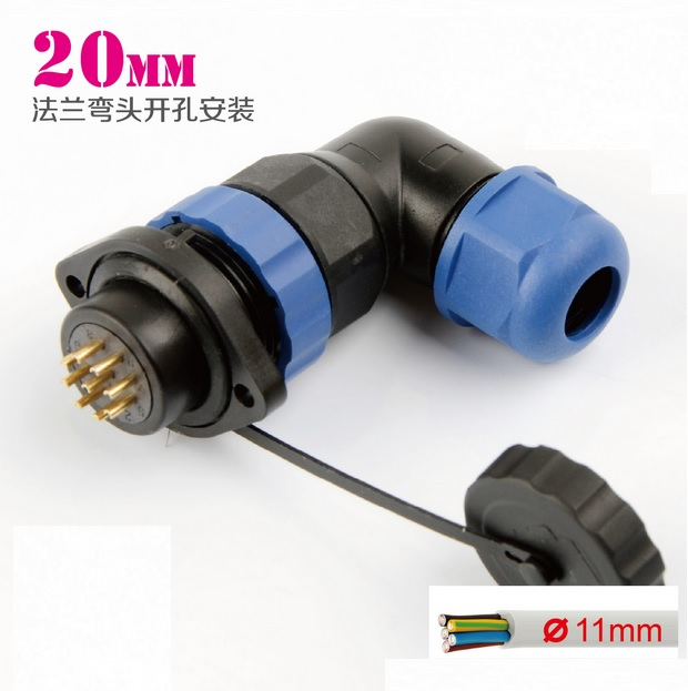 Elbow 250v Waterproof & Dustproof Electrical Cable Wire Aviation Connector Male Plug+female Panel Rear Mount Socket Adapter 1set wp20 2pin waterproof chassis panel mount aviation plug cable connector 30a 500v