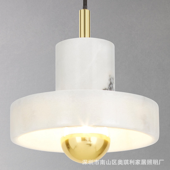 Modern led Marble pendant lights Creative personality round shape hotel Foyer dining room decoration art LED