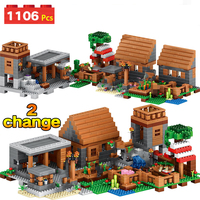 1106pcs My World Farm Village Ghoust House Building Blocks Compatible Legoingly Minecrafted City Bricks Figures Toy For Children