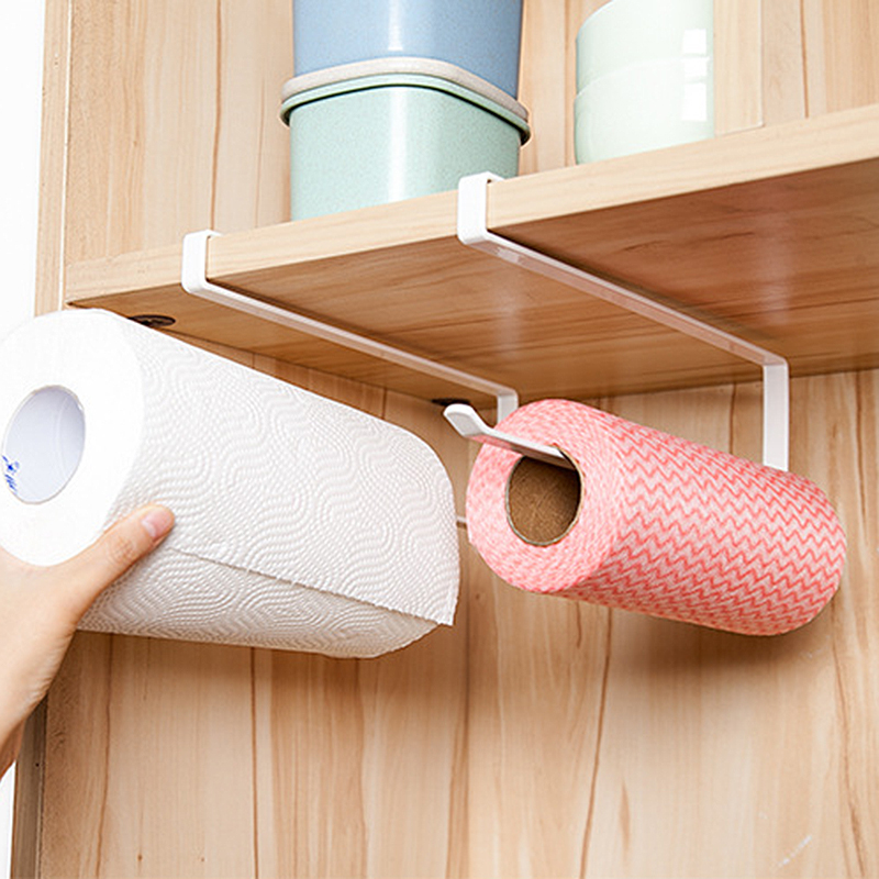 2pcs Paper Towel Holder Dispenser Under Cabinet Paper Roll Holder Rack Without Drilling For Kitchen Bathroom Home Improvement