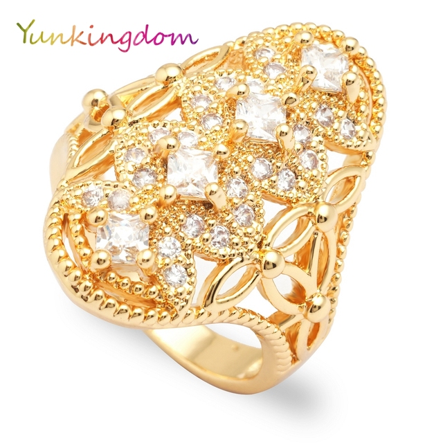 Yunkingdom elegant fashion crystal rhinestone rings for women ladies female cost
