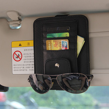 Car Styling Universal Car Auto Visor Organizer Holder PU Leather Case for Card Glasses Car Accessories
