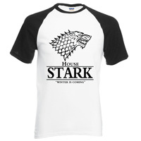 Hot Sale Game Of Thrones Raglan Tee House Stark Letters Winter Is Coming T Shirt 2016
