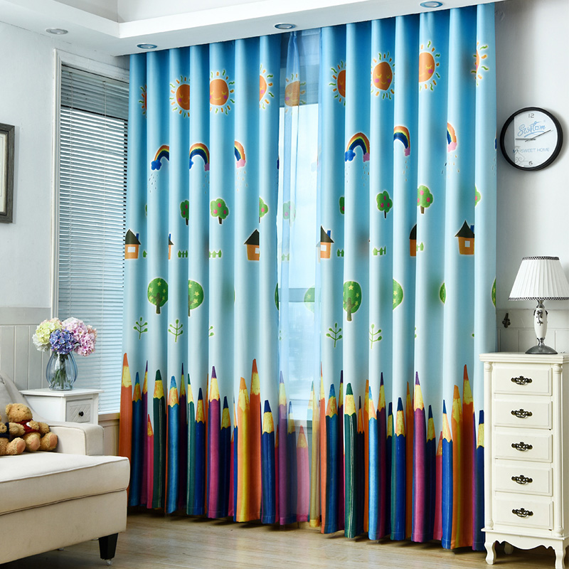 US $9.17 49% OFF|Rainbows and Pencils Children Curtains Baby Room Curtains  for Living Room The Bedroom Blackout Curtains for Kids Lovely Drapes-in ...