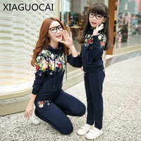 XiaGuoCai Family Matching Outfits Mother Daughter Girl sets Sport Suit hoodie+long pants Embroidery pattern autumn clothes k6 35