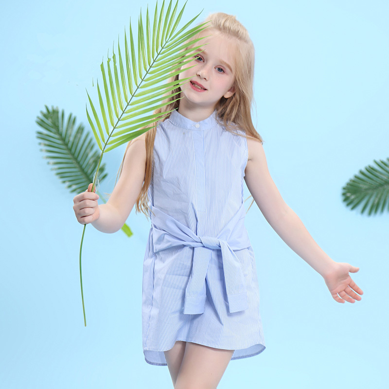 W.L.MONSOON Children's Clothing Girls Stand Collar Fake Two Shirts 2018 Summer New Children's Sleeveless Thin dress