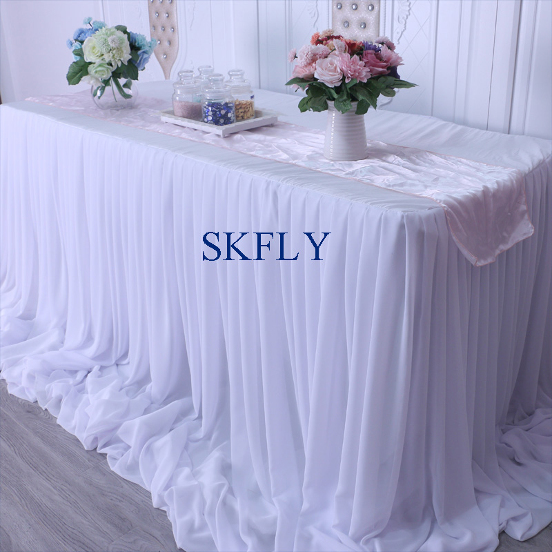 CL071B nice 2019 custom made many colors wedding long drape chiffon pleated white table skirt with velcro-in Table Skirts from Home & Garden    3