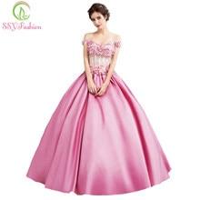 5129326d76aa7 SSYFashion Yeni Lüks Pembe Saten Çiçek Balo Elbise Gelin Tatlı Aplikler ile  Boncuk Akşam Parti Abiye Yansıtıcı Elbise