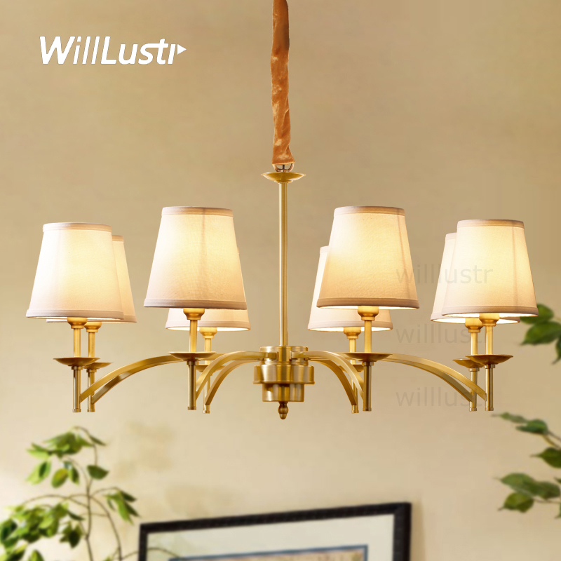 Willlustr copper pendant lamp brass hanging light fabric shade Chandelier modern suspension lighting american country bronze brass half round ball shade pendant light led vintage copper wooden lighting fixture brass wood fabric wire pendant lamp