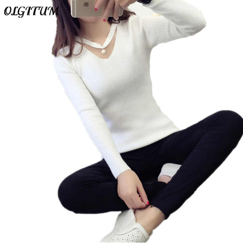 2019 autumn new Style V-neck pearl bead hanging neck sets head knitting sweater long-sleeved sexy Slim women sweater blouse