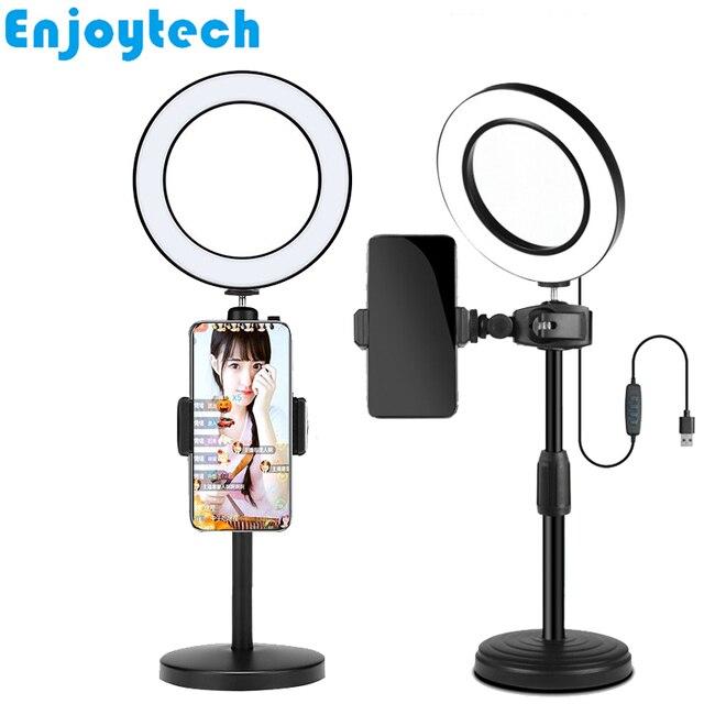 新しいデスクトップマウント携帯電話用スタンド三脚 16 センチメートル LED リングフラッシュランプライトブロガー