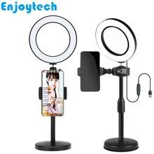 Nowy pulpit mocowania uchwyty do telefonów komórkowych statyw z 16cm LED lampa pierścieniowa lampa światło dla blogerów wideo