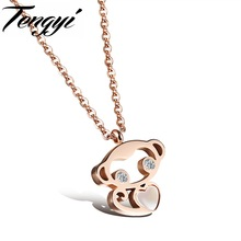 TENGYI Women Animal Jewelry Classic Necklace Rose Gold Color Full Steel Special Design Pendant Necklace Cute Monkey Gift TY1036M
