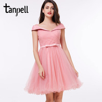 Tanpell Off The Shoulder Cocktail Dress Pink A Line Knee Length Sashes Dress Cheap Graduation Party