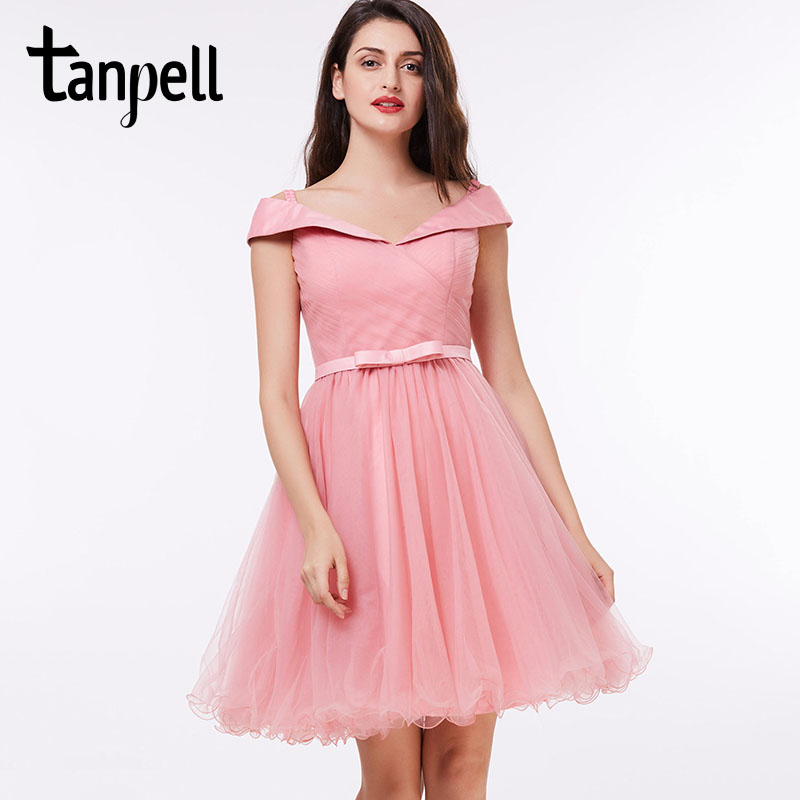 Tanpell Off The Shoulder Cocktail Dress Pink A-line Knee Length Sashes Dress Cheap Graduation Party Black Short Cocktail Dresses