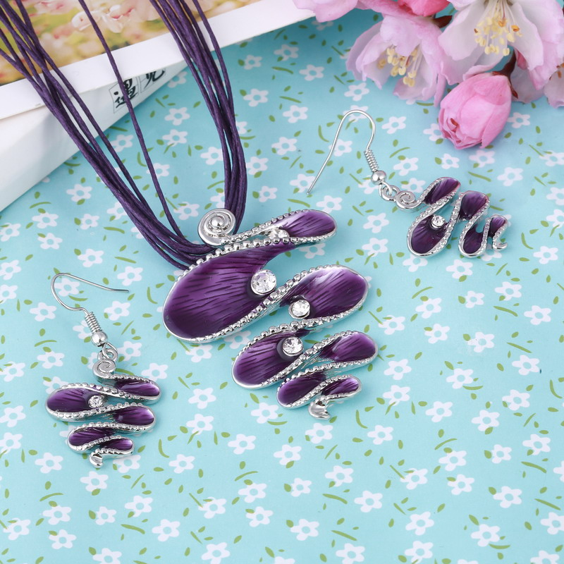 ZOSHI Fashion Brand Jewelry Sets Antique Silver Plated Purple Necklace Set Bridal Jewelry High Quality Party Gifts New Arrival