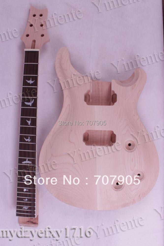 New Unfinished electric guitar neck Mahogany & Body Solid wood free shipping new unfinished electric guitar with mahogany body silver blue large particles foam box f1669