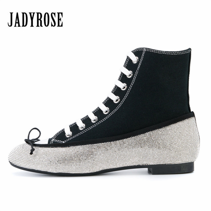 Jady Rose 2018 New Hot Women Lace Up Sneakers Bling Crystal Flat Shoes Tenis Feminino Casual Flats Espadrilles Ladies Shoes new england fans printed canvas shoes color lace up women casual flats custom patriotic letter luminous tenis shoes espadrilles